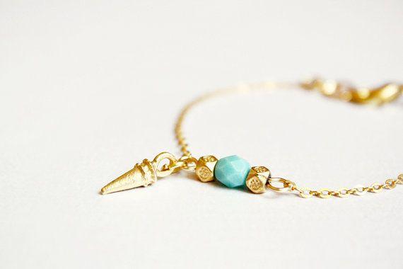 spike bracelet  mint and gold minimal modern jewelry / door PetiteCo