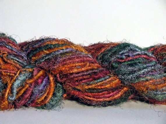 recycled handspun sari silk yarn   unique creative by mibolkossek, Ft3400.00