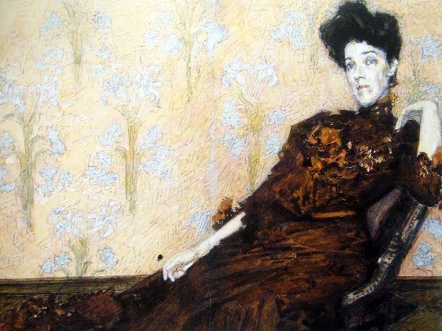 Врубель М.А. Портрет Н.И. Забелы-Врубель в кресле на фоне обоев. 1904. Бумага, акварель, графитный карандаш. 21,1 Х 30,6.