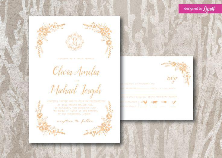 Floral Wedding Invitation-Digital wedding invitation-Printable wedding invitation set-Custom wedding invitation-Flower bouquet by Linvit on Etsy