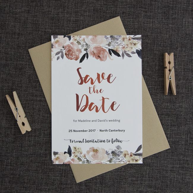 """These exquisite rose gold and watercolour flower save the dates are a lovely way to ask your loved ones to the save the date for your wedding.    A beautiful bough of peonies and other delicate florals has beendesigned to adorn yourSave the Date card with stunning tones ofpeach-pink and dusky blue. This sets off the lovely rose goldtones the """"Save the Date"""" announcement is printed in. Printed on a soft uncoatedcardstock reminiscent of watercolour paper."""
