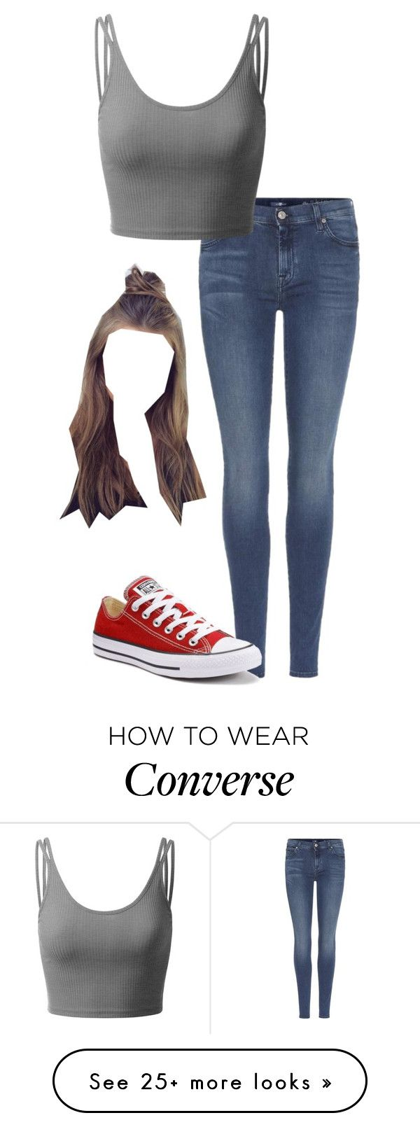 """""""Roleplay OC- Rose"""" by photogeekgirl on Polyvore featuring 7 For All Mankind, Doublju and Converse"""