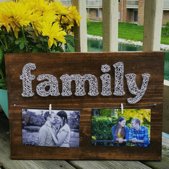 Made to order custom family photo string art display by Blossomingburlap on etsy