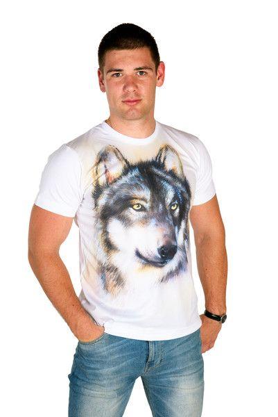 Artystyczny T-shirt męski - Malowany Wilk - ArtEgo - Bluzki