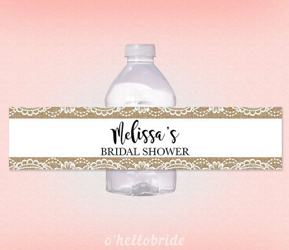 printable personalized bridal shower water bottle labels rustic burlap lace personalized water bottle labels rustic burlap wedding 017 rustic burlap
