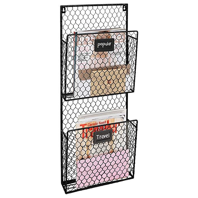2 Pocket Rustic Wall Mounted Chicken Wire Metal Document Rack Magazine Holder With Chalkboard Lab Wooden Magazine Rack Chalkboard Labels Diy Magazine