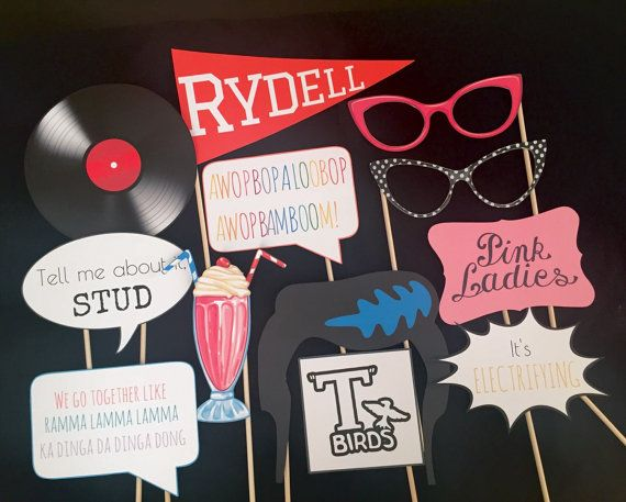 Grease Photo Booth Props by IGotMadProps on Etsy