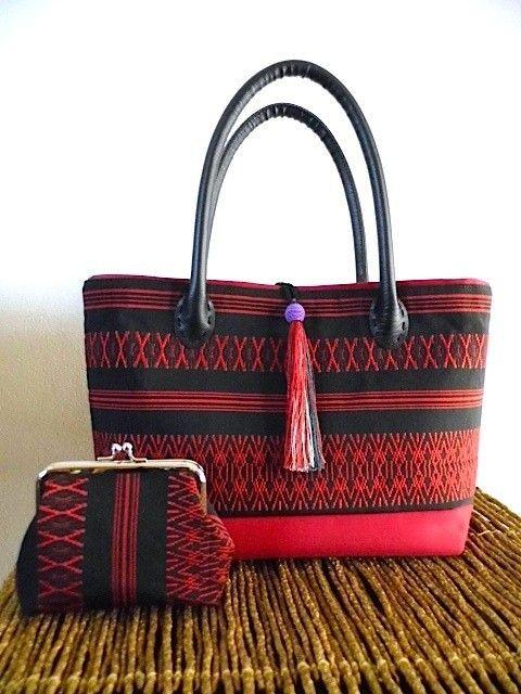 博多織名古屋帯・トートバッグ・赤と黒・ポーチ付き - 篠