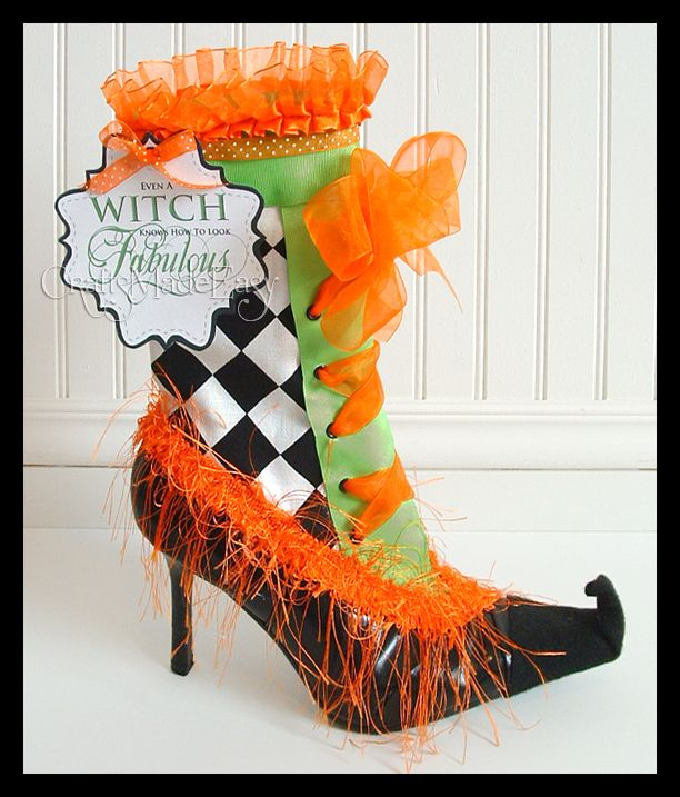 Crafts Made Easy: Halloween Decor Includes sassy witches boot, Spells and spell books.  All inexpensive DIY