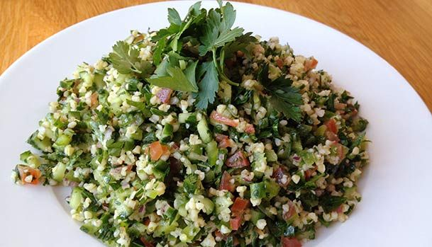 Tabouleh with lots of Parsley, Tomato, Cucumber and Bulgur.
