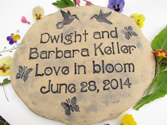 Custom wedding gift. Outdoor plaque with carved wording, hummingbirds by Poemstones