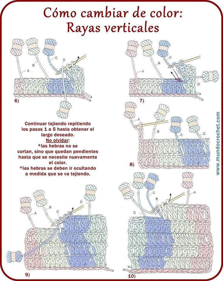 Cambio de color en crochet: Rayas verticales - Mundo Crochet