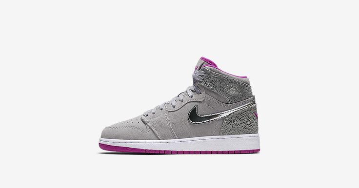 Explore and buy the Girls' Air Jordan 1 Retro High 'Wolf Grey & Fuchsia Flash'. Stay a step ahead of the latest sneaker launches and drops.