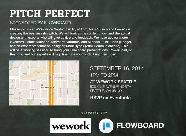Join Flowboard at WeWork Seattle for our Pitch Perfect event and learn how to perfect your investor pitch!! #WeWorkSeattle #PitchPerfectSea