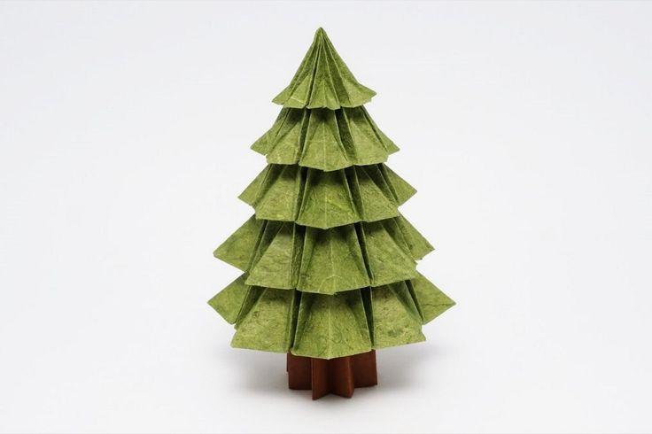 Видео с пошаговым мастер-классом о том, как сделать новогоднюю оригами ёлку из модулей по схеме Джо Накашима (Jo Nakashima)
