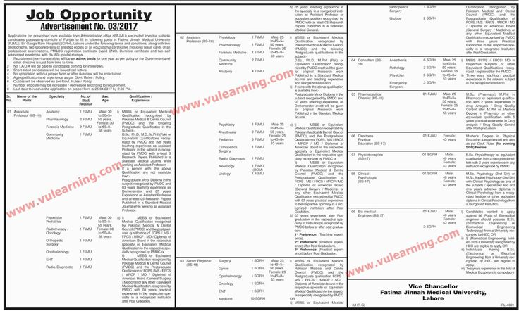 #  Title  Details  1  Jobs Location  Pakistan  2  Government / Private  Government  3  FPSC / PPSC / NTS / Others  Others  4  Published Date  12 Apr 2017 Wednesday  5  Last Date to Apply  25 Apr 2017 Tuesday  6  Newspaper Name  Dawn  FJMU Jobs 2017 Fatima Jinnah Medical University & Sir Ganga Ram Hospital Lahore Latest  Vacancies / Positions:-  Associate Professors  Assistant Professors  Senior Registrar  Consultant  Pharmaceutical Chemist  Directress Physical Education  Physiotherapists…