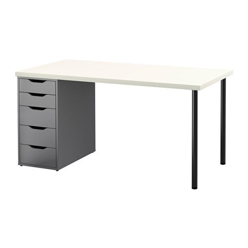 **LINNMON / ALEX Table, white, gray white/gray, 59x29.5x28.75, $118, for office.  Good for sewing also.