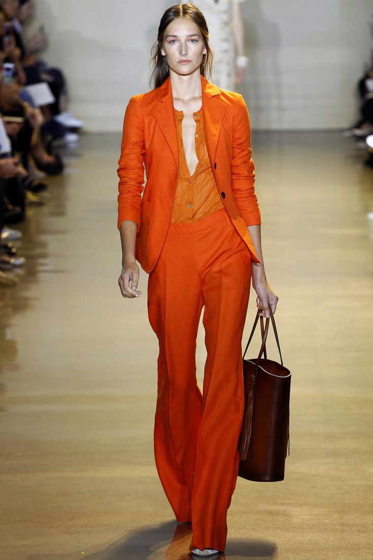 Altuzarra SS16 RTW :: Joséphine Le Tutour | Joséphine + that orange in the way only Altuzarra can do it... be still my heart. I LOVE the low-slung, low-cut top / high-rise pants / jacket combo. UGH.