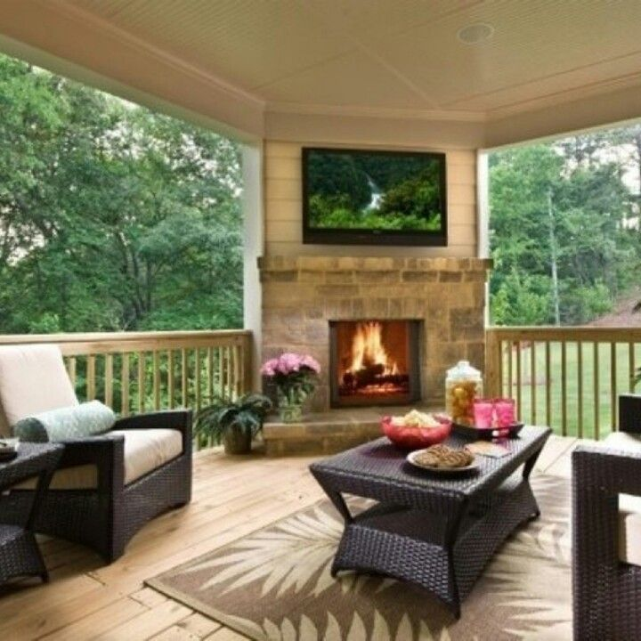 Love the corner fireplace tv decks porch ideas for Covered back porch ideas