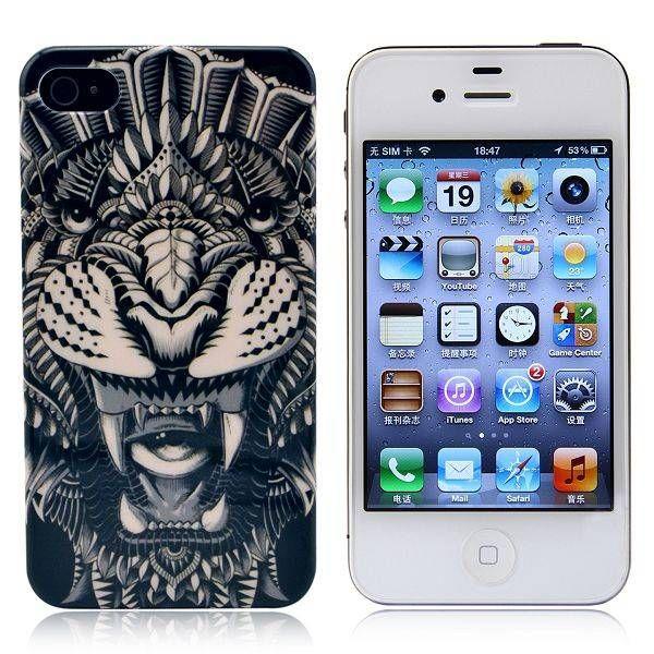 Zwart / witte tijger hardcase hoesje voor iPhone 4 / 4S