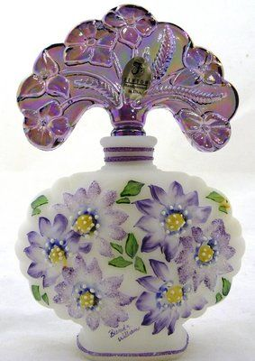 Fenton Art Glass White Satin Perfume Bottle Iridized Violet Stopper Mint | eBay
