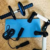 Abdominal Core Fitness Set Ab Wheel Roller Carver Pushup Bar Jump Rope Knee Pad Abdominal Exercisers