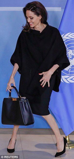 Whistle-stop: Angelina was in Paris on Tuesday, before making her trip over to Brussels