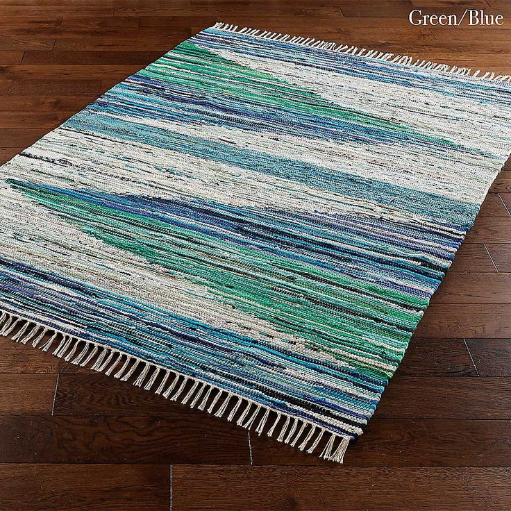 Blue & Green Cotton Rag Rug
