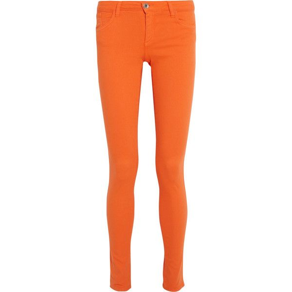 Alice + Olivia Low-rise skinny jeans ($180) ❤ liked on Polyvore featuring jeans, pants, bottoms, bright orange, low rise skinny jeans, 5 pocket jeans, orange skinny jeans, skinny fit jeans and skinny leg jeans