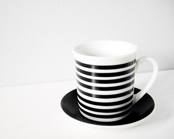 Vintage Striped Cup With Saucer Black White Teacup And