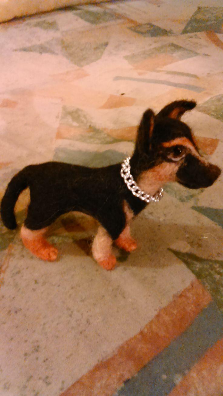 Shepherd puppy. Needle felting by Alina Wodzińska