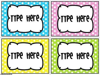 "Editable Bright Polka Dots  Labels  contains 8 blank Editable Bright Polka Dots  Labels.Size of the labels are:3.5"" * 4.8"""