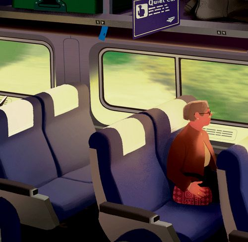 The Quiet Ones This is a still of the a piece I made for this article in the NY Times Sunday Review about the Quiet Car in Amtrak trains and the plight of those who champion silence. Click through to see an animated version. Thanks AD Erich Nagler