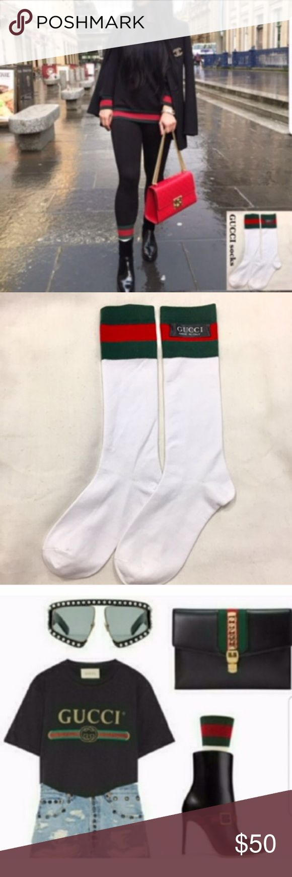 Authentic GUCCI socks striped green red white . . 🔴 PRICE FIRM.   NOT accepting offers . . NEW Authentic GUCCI unisex socks. No tags Green red stripes. WHITE main If perfect, retails. $100+  These did not pass final inspection. So may have minor irregularity. (Checked & Looks ok to me)  A LUXE to complement women's leather boots purse tote bag, dress, pants, shorts outfit. . . 🔴NOT accepting offers. TY . . If paid before 12:00 noon, I will send off the same day (excluding weekend/holiday)…