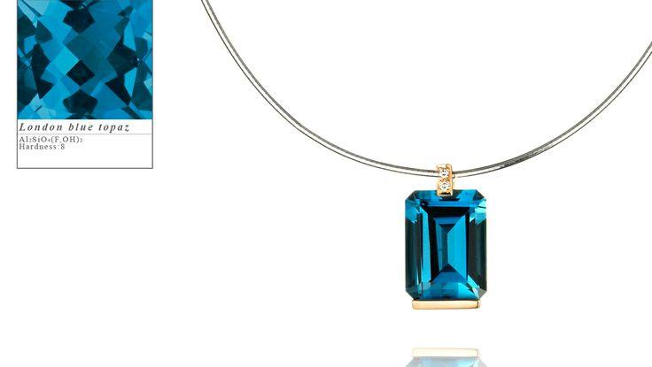 Simon Pure's rose gold Manhatten pendant set with a cushion cut london blue topaz.