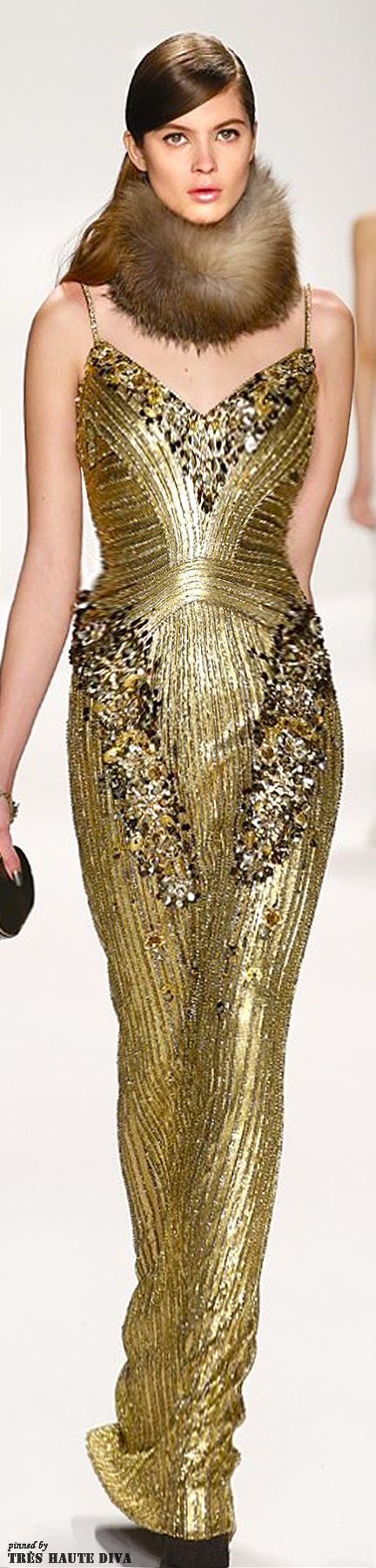 White and Gold Wedding. Gold Bridesmaid Dress. Elegant and Glamorous. #NYFW Badgley Mischka Fall/Winter 2014 RTW