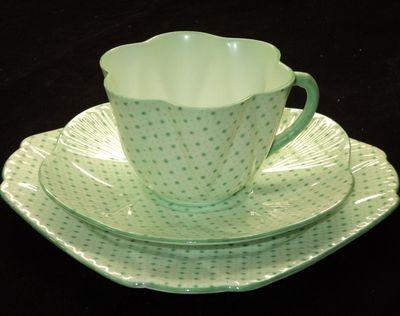 Shelley Dainty Polka Dots Stars Tea cup and saucer TRIO