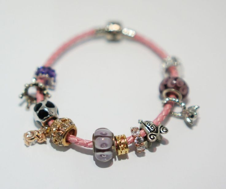 [betulikeit] Handmade Charm Bracelet pink leather string with purple charms #Handmade