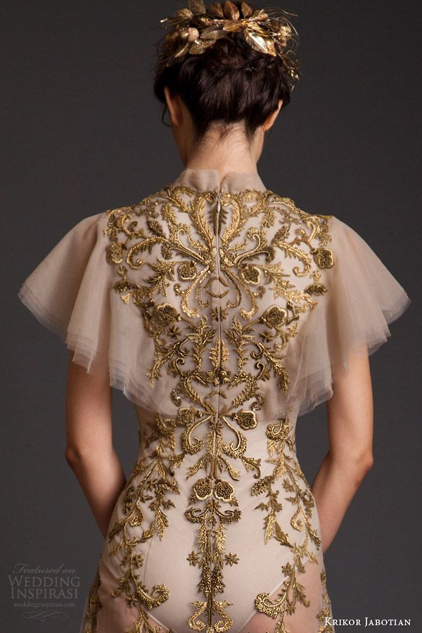 krikor jabotian couture spring 2014 high neck dress with flutter sleeves back view embroidery close up