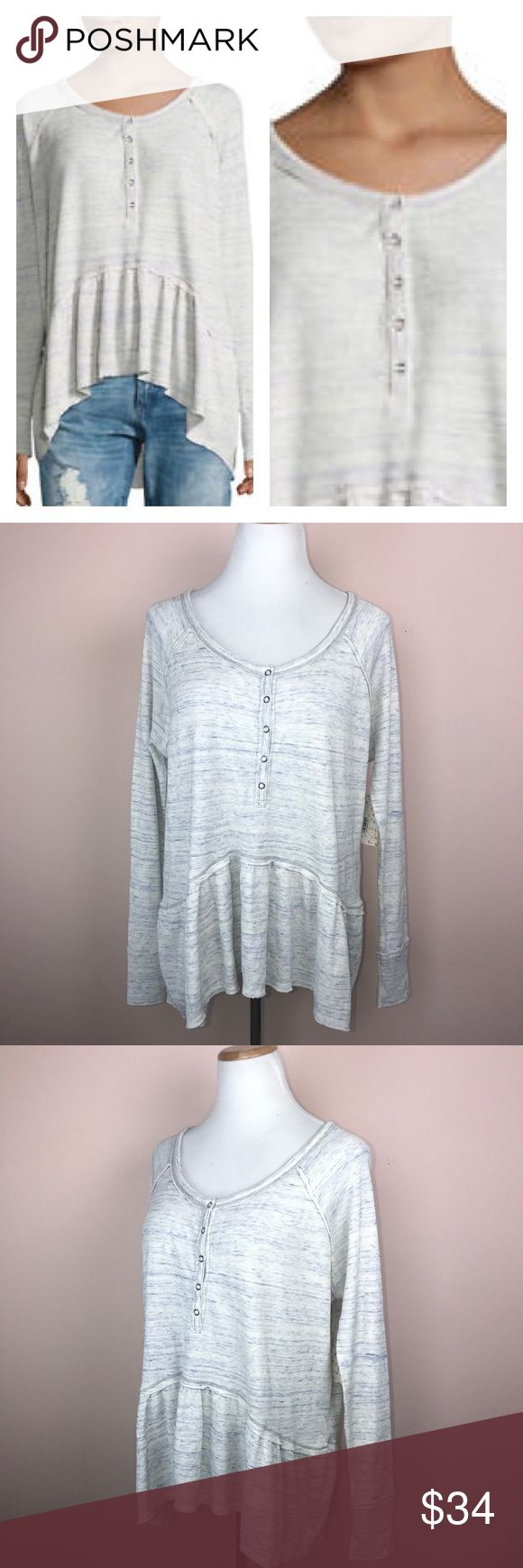 """Free People Top Size Medium Ivory Peplum Coastline This listing is for a Free People Top Size Medium Ivory Coastline Peplum Long Sleeve.  armpit to armpit 25 1/2"""" length 24""""-27"""" (longer in back) 100% cotton machine wash cold, tumble dry low top modeled on a size 6/8 dress form Top will be delivered gently steamed and wrapped in tissue.  SKU: 0917-FOX917-1096 Free People Tops"""