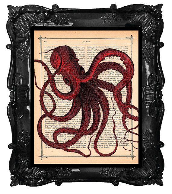 RED OCTOPUS art print Red OCTOPUS on antique book von BlackBaroque