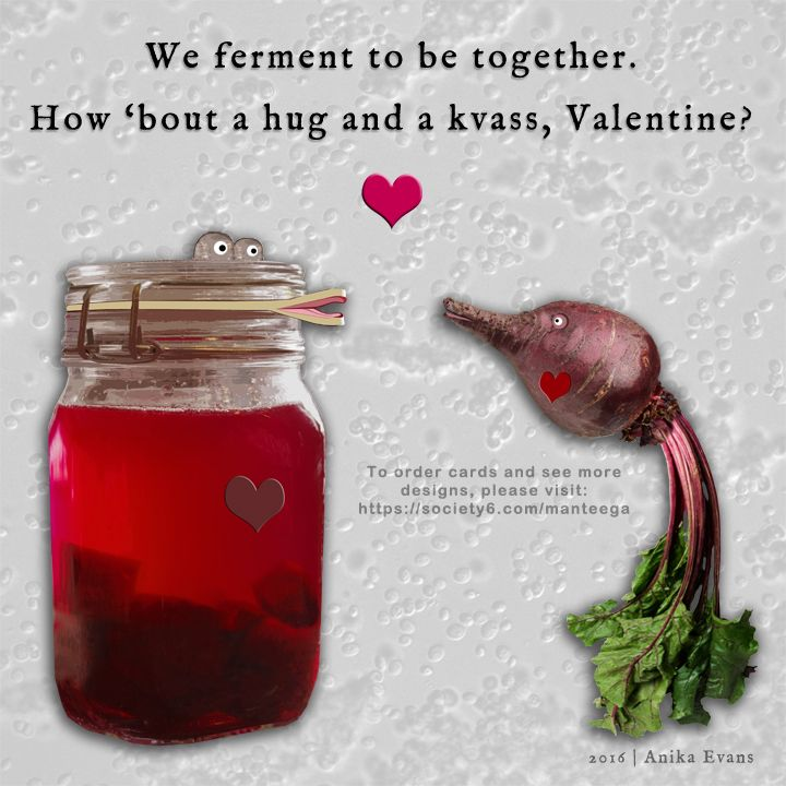 We Ferment To Be Together, How 'Bout A Hug and a Kvass, Valentine? Free Valentine for online sharing. Copy/paste at will! | www.manteega.com
