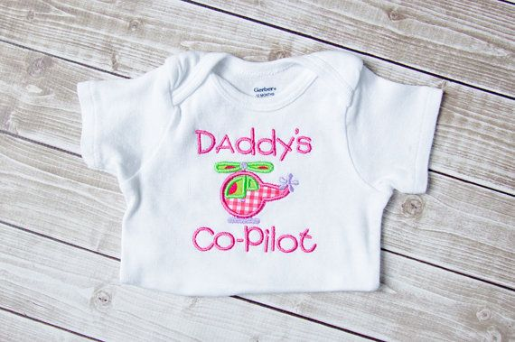 Baby Girl Embroidered Daddy S Co Pilot Pink Helicopter
