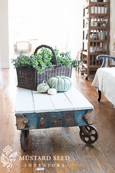 industrial cart & the andrews sisters - Miss Mustard Seed ~ Id like to find a cart like this, to use as a coffee table.