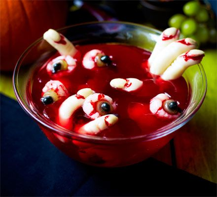 Scary Halloween jelly. Trick or treat time! This kids' party dessert may look gruesome, but the eyeballs and fingers are all sweet and fruity bites