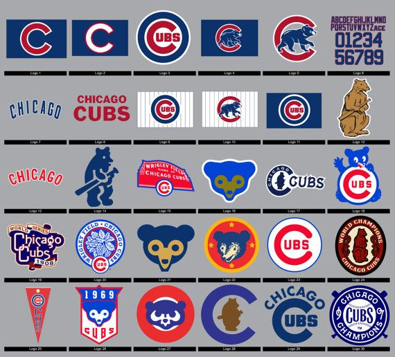 Chicago Cubs Logos SVG, dxf, eps, ai, pdf, png Vector Digital cut for Silhouette Studio, Cricut Design Space, Jersey Numbers