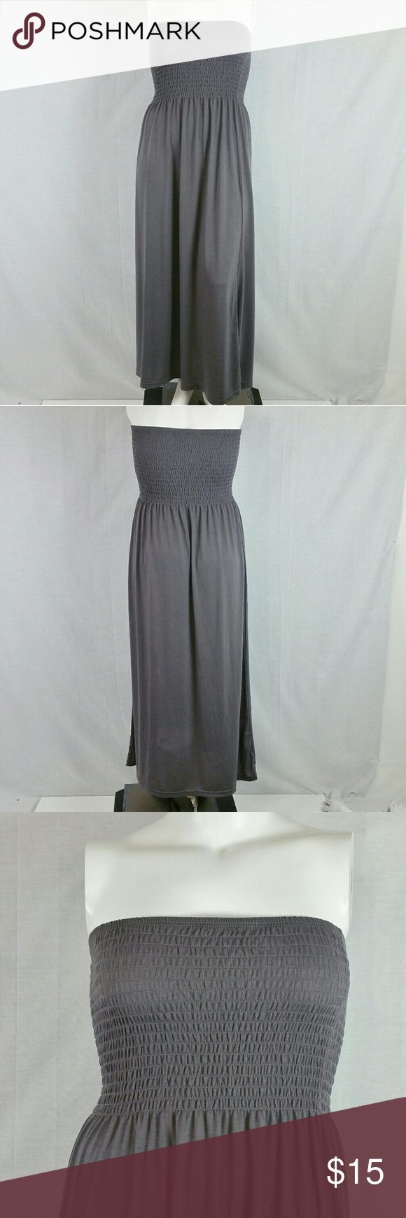 "Gray Smocked Tube Maxi Dress Size 2X Bust 30"" around not stretched & length 49"". 62% polyester 33% rayon 5% spandex. Add to a bundle to receive 20% off 3 or more items. Offers welcomed. Bin f Love Ari Dresses Maxi"