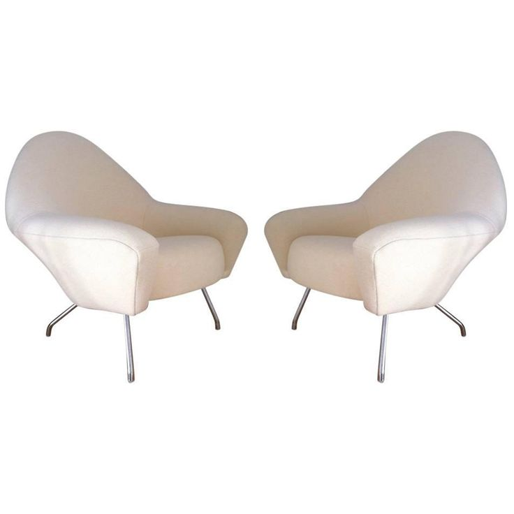 Pair of Joseph-André Motte Lounge Chairs Model 770 by Steiner, 1950 | From a unique collection of antique and modern lounge chairs at https://www.1stdibs.com/furniture/seating/lounge-chairs/