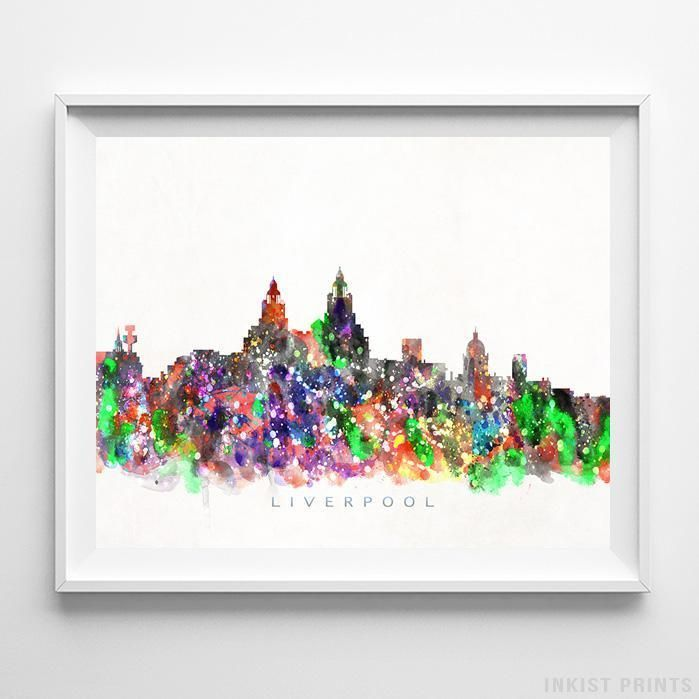 Liverpool England Skyline Watercolor Wall Art Print. Prices from $9.95. Available at InkistPrints.com - #skyline #watercolor #cityscapes #bedroomdecor #homedecor #Liverpool #England
