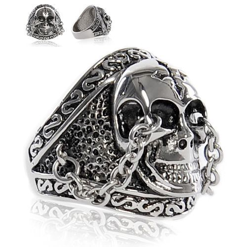 Buy Men Best Titanium Steel Skull Punk Gothic Band Ring Fashion Jewelry SKU-71109043